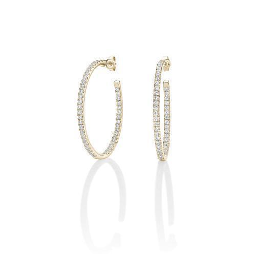 Large Oval Open Hoops in Yellow Gold