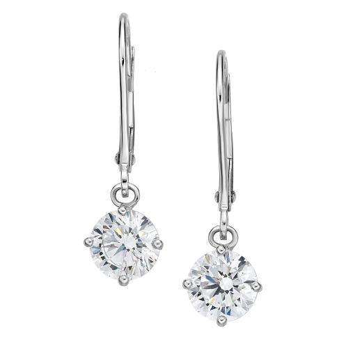 Lever Back Round Brilliant Cut Earrings in White Gold