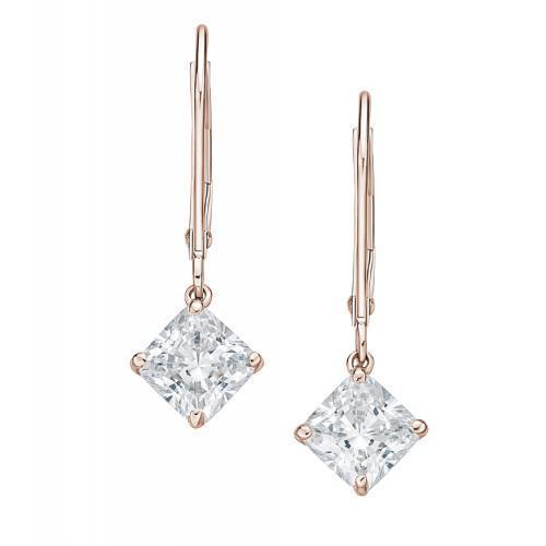 Lever Back Princess Cut Earrings in Rose Gold