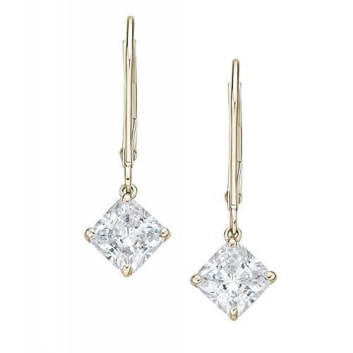 Lever Back Princess Cut Earrings in Yellow Gold