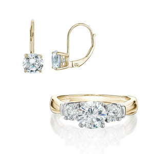 Round Brilliant Cut Claw Set Gift Set in Yellow Gold w/ White Gold Setting