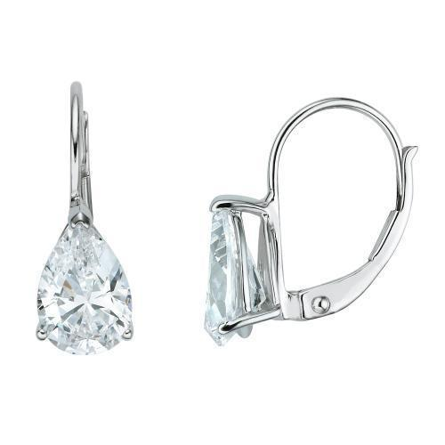 Pear Cut Euro Back Earrings in White Gold