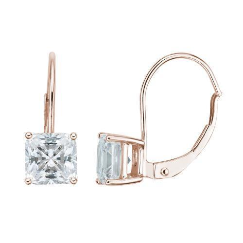 Princess Cut Euro Back Earrings in Rose Gold