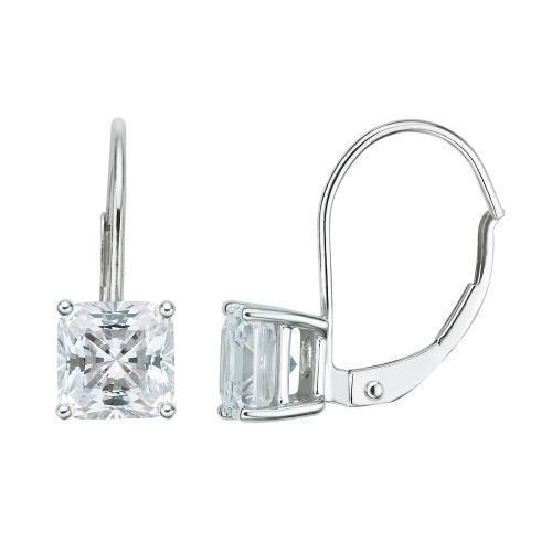 Princess Cut Euro Back Earrings in White Gold