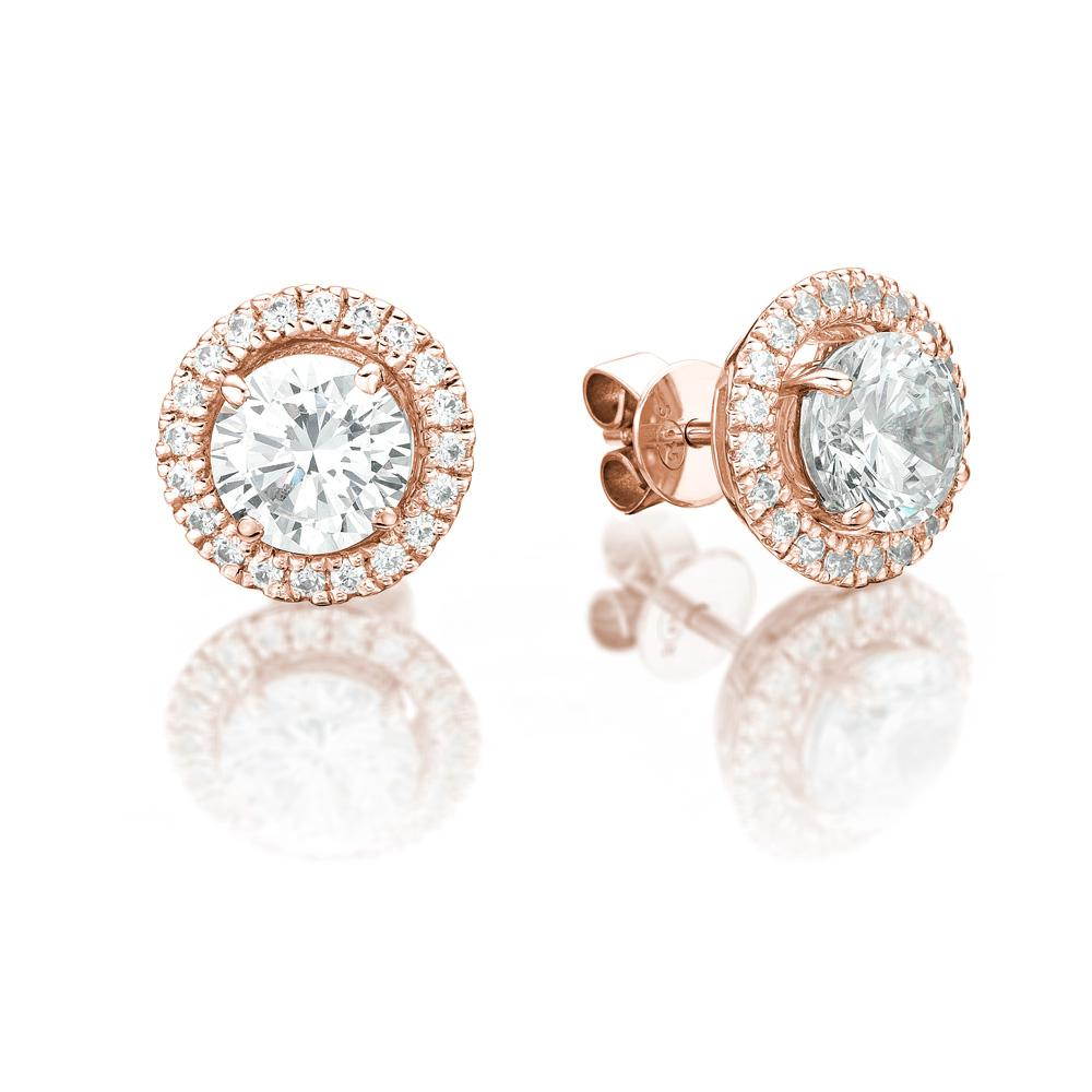 4 Claw Round Brilliant Stud and Halo Enhancer Set in Rose Gold