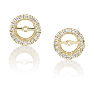 4 Claw Round Brilliant Stud and Halo Enhancer Set in Yellow Gold