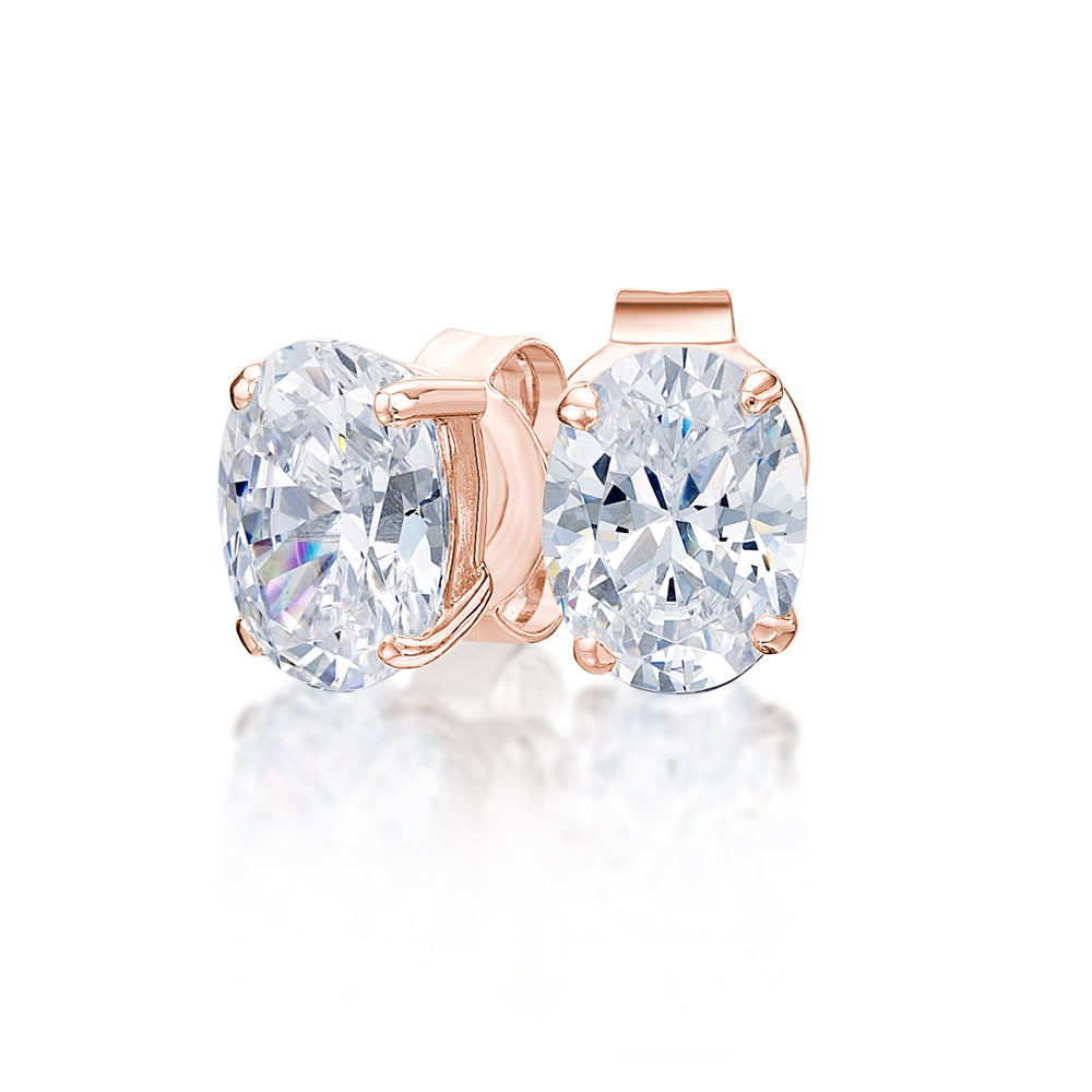 Oval Stud Earrings in Rose Gold