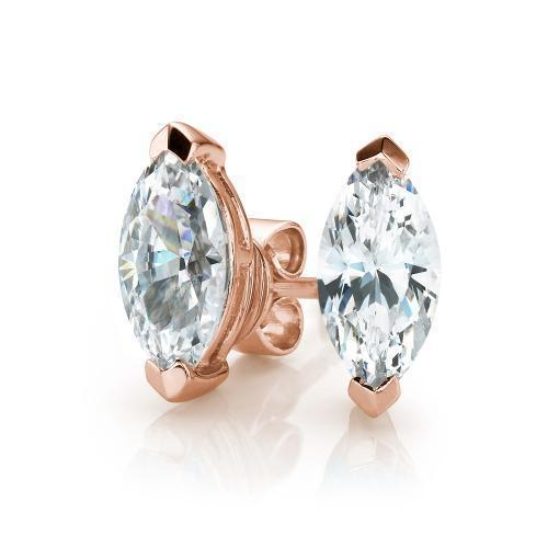 Marquise Stud Earrings in Rose Gold