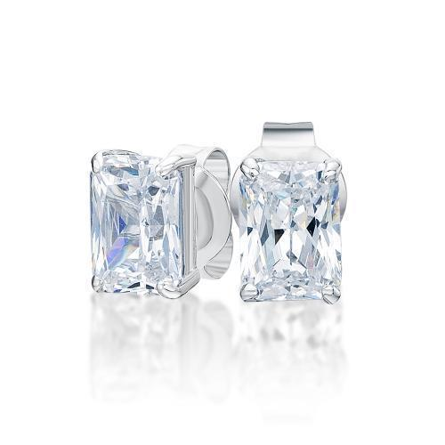 Radiant Stud Earrings in White Gold