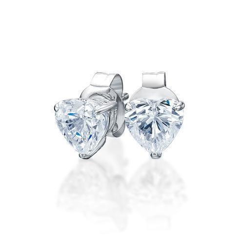 Heart Stud Earrings in White Gold