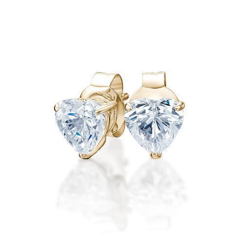 Heart Stud Earrings in Yellow Gold