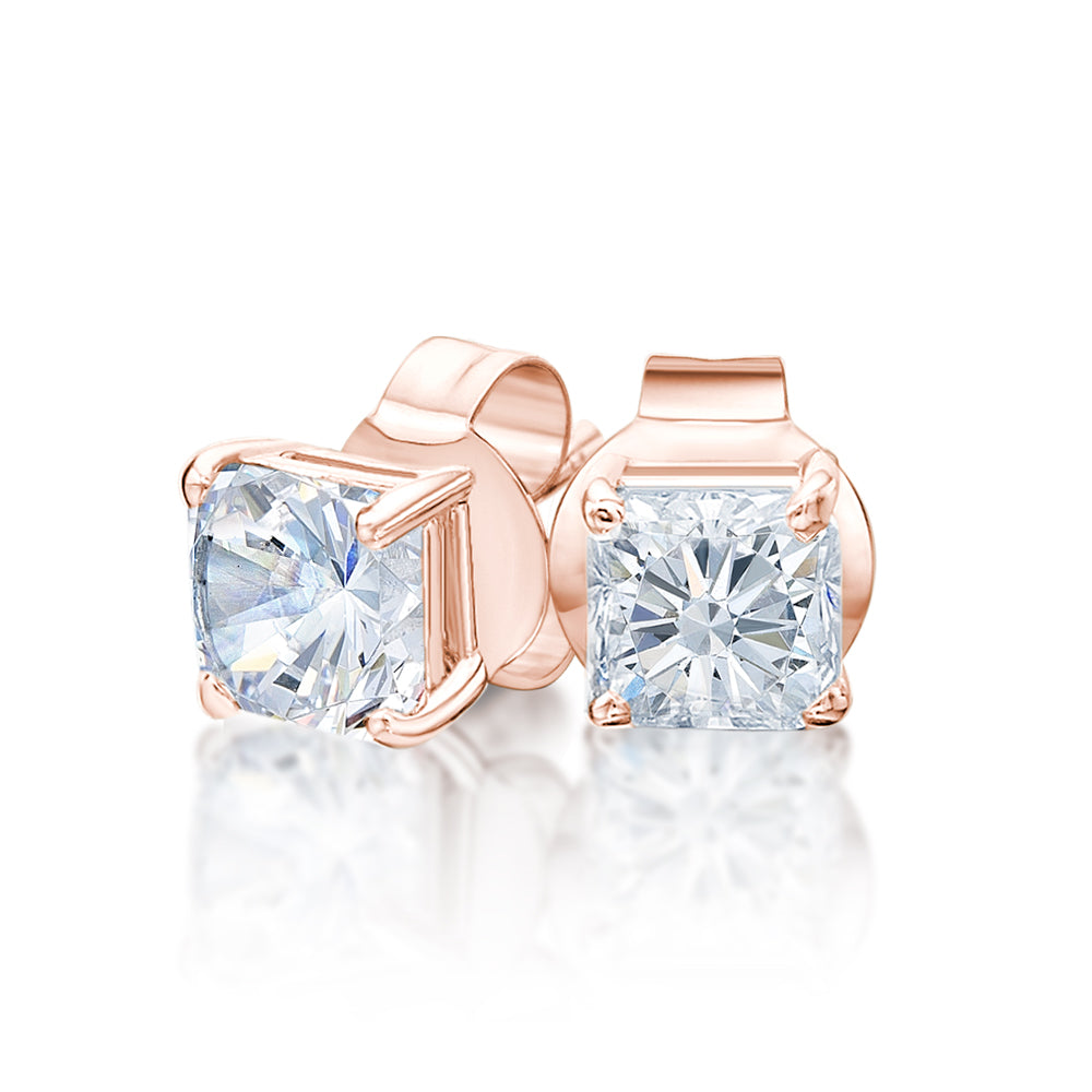Princess Stud Earrings in Rose Gold
