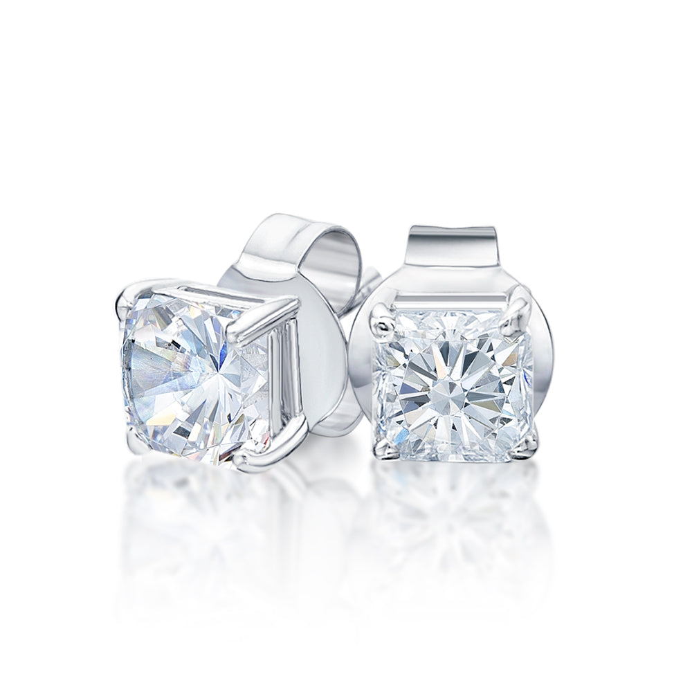 Princess Stud Earrings in White Gold