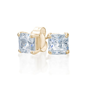 Princess Stud Earrings in Yellow Gold