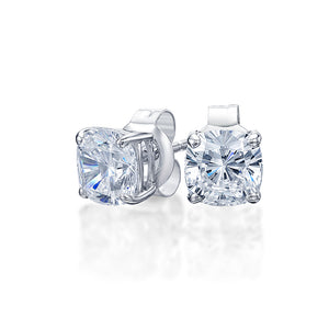 Cushion Stud Earrings in White Gold