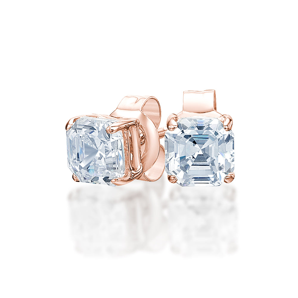 Asscher Stud Earrings in Rose Gold