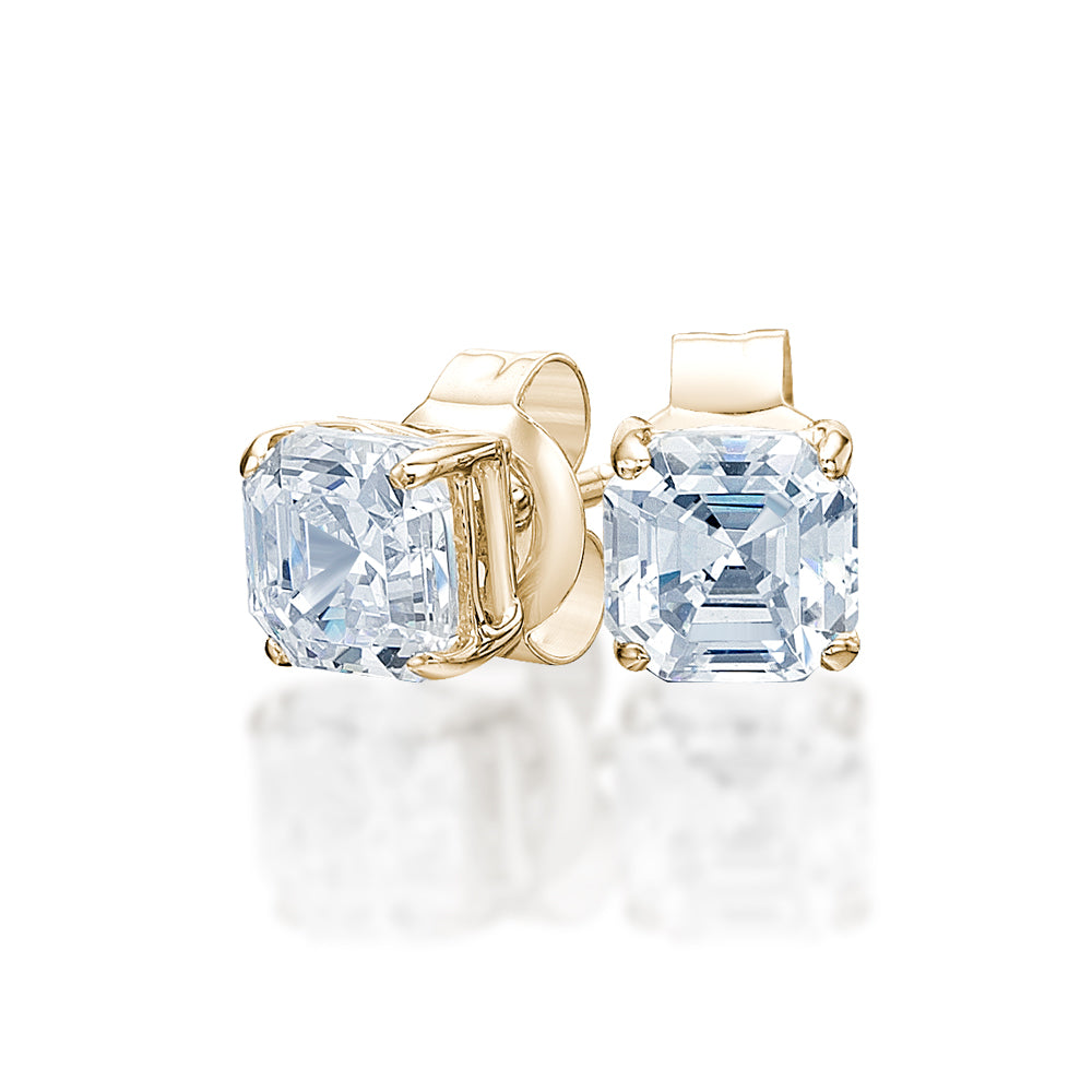 Asscher Stud Earrings in Yellow Gold