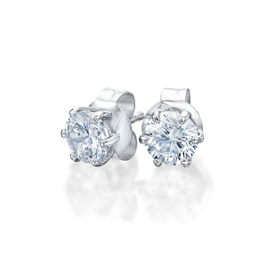 6 Claw Round Brilliant Stud Earrings in White Gold