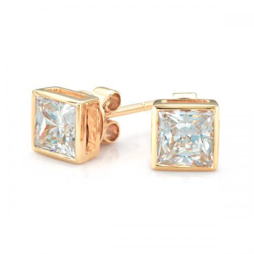 Princess Cut Bezel Stud Earrings in Yellow Gold