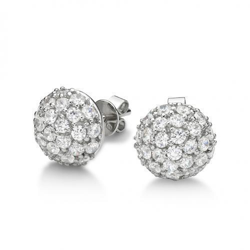 Sterling Silver Pave Half Ball Large Earrings in Sterling Silver