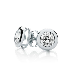 Bezel Set Round Brilliant Stud Earrings in White Gold