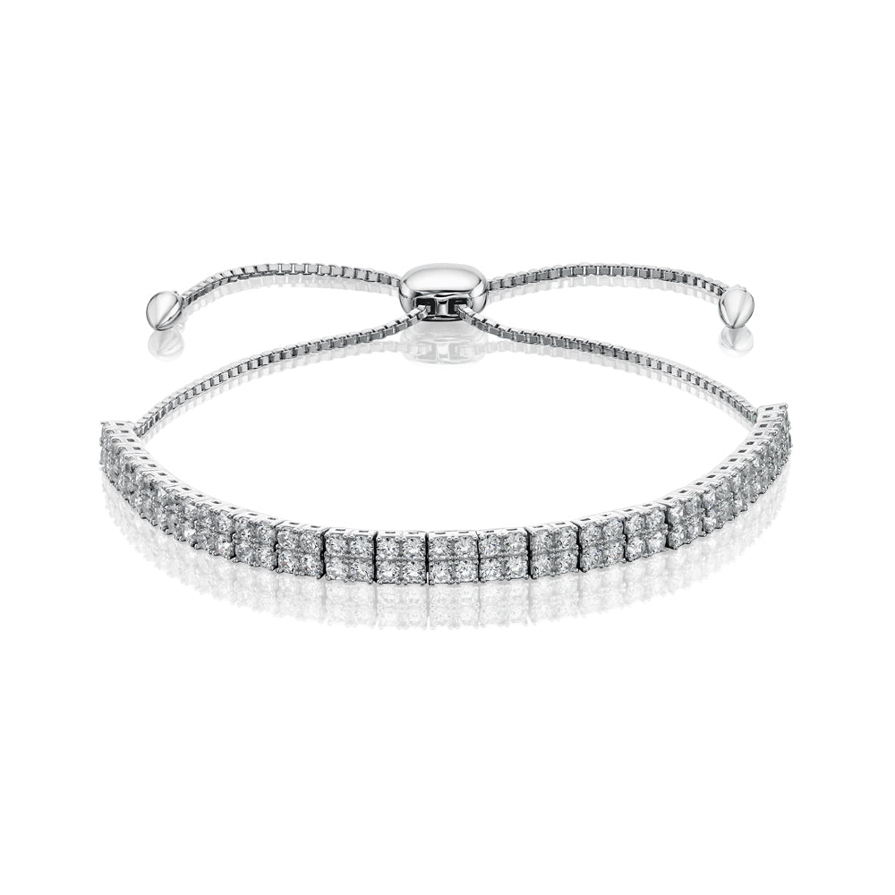 Ella Sterling Silver Double Round Brilliant Sliding Bracelet