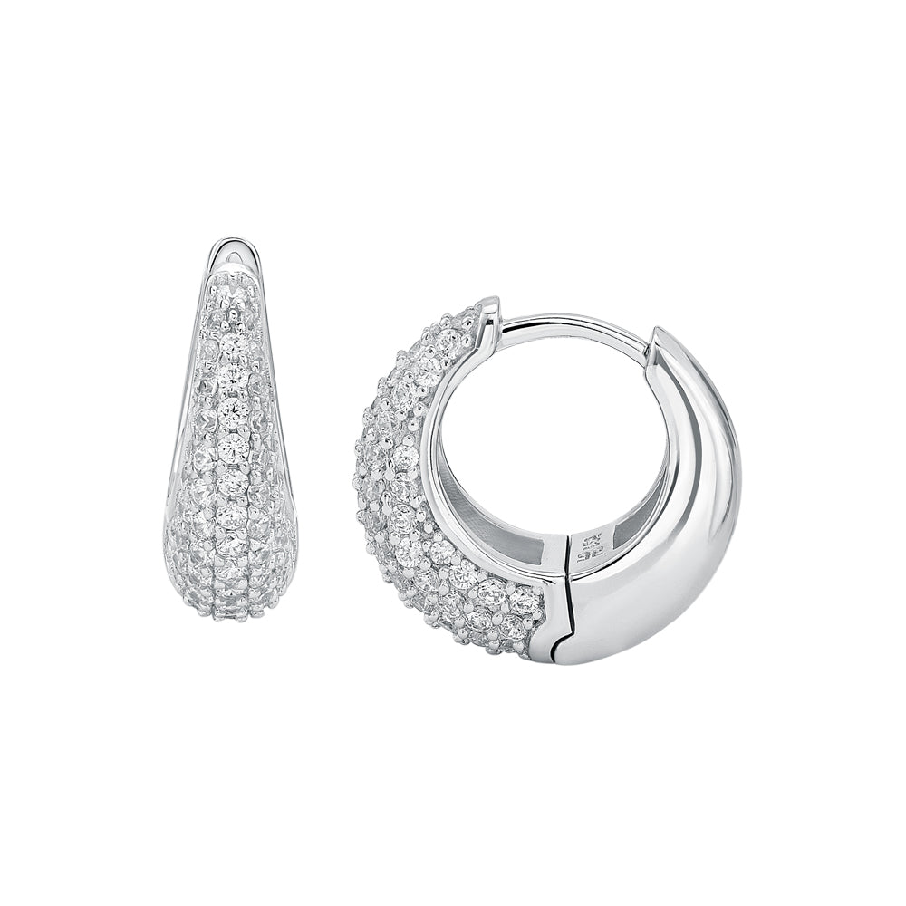 Hoop Pave Earrings in Sterling Silver