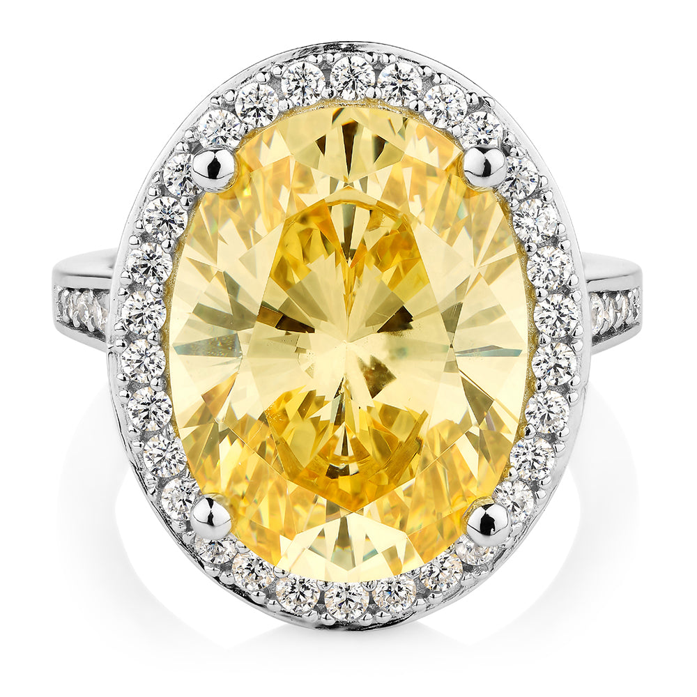 Oval Cut Cluster Ring Sterling Silver - Yellow Diamond Simulant Colour