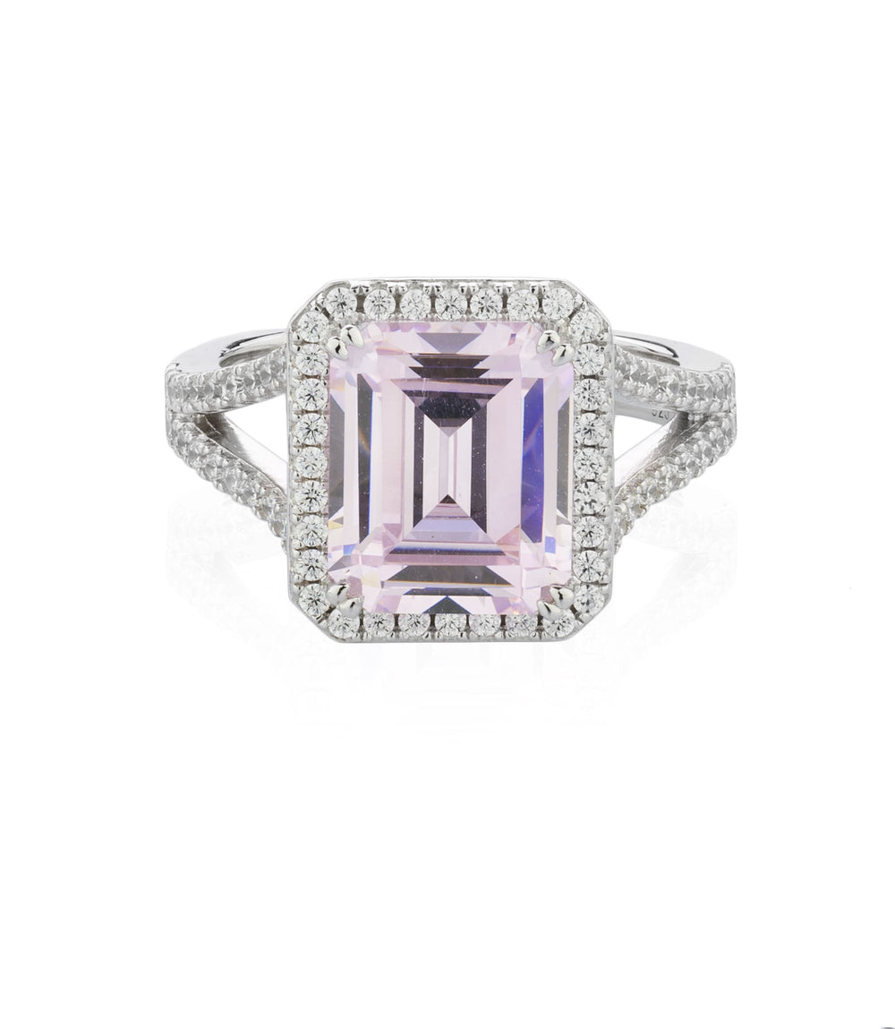 Emerald Cut Cluster Set Dress Ring - Pink  Simulant Colour in Sterling Silver
