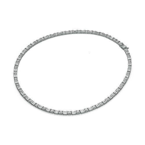 Round Brilliant and Baguette Necklet in White Gold