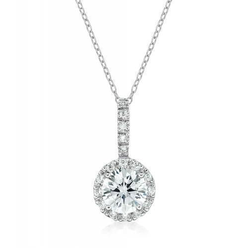 Round Brilliant Dress Pendant in White Gold