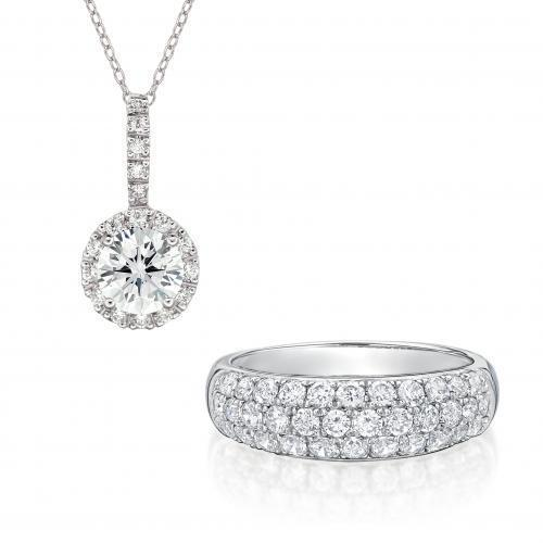 Round Brilliant Cut Fancy Gift Set in White Gold