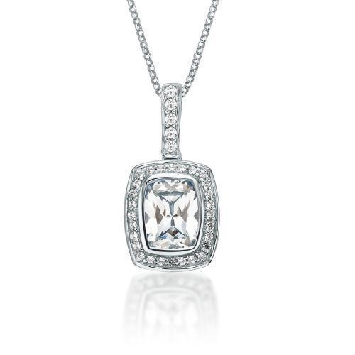 Fancy Cushion Radiant Cut Pendant in White Gold