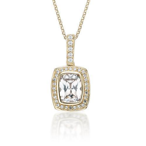 Fancy Cushion Radiant Cut Pendant in Yellow Gold