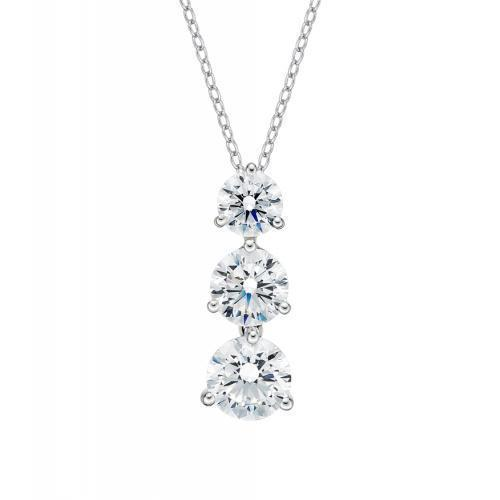 Three Tier Round Brilliant Drop Pendant in White Gold