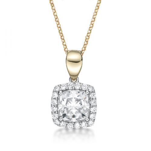 Synergy Cushion Cut Enhancer Pendant in Sterling Silver w/ Yellow Gold