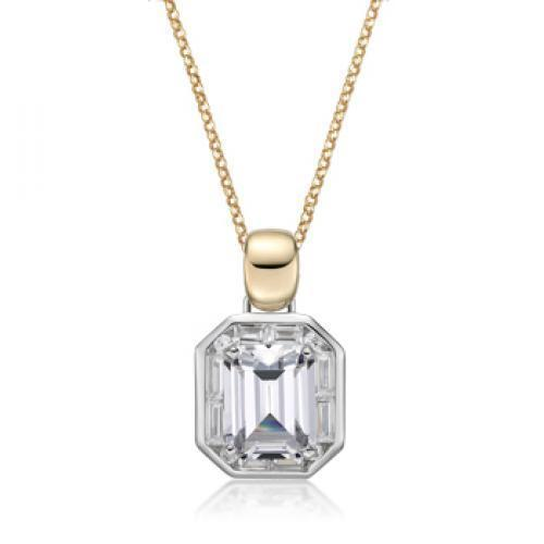 Synergy Emerald Cut Enhancer Pendant in Sterling Silver w/ Yellow Gold