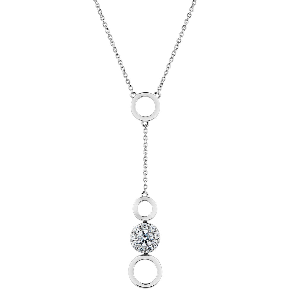 Celeste Drop Halo Necklace in 10ct White Gold