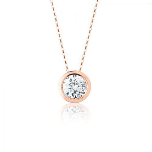 Fine Bezel Set Round Brilliant Pendant in Rose Gold