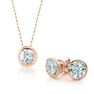 Round Brilliant Fine Bezel Gift Set in Rose Gold