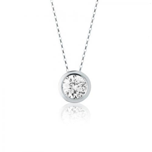 Fine Bezel Set Round Brilliant Pendant in White Gold