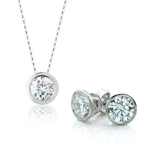 Round Brilliant Fine Bezel Gift Set in White Gold