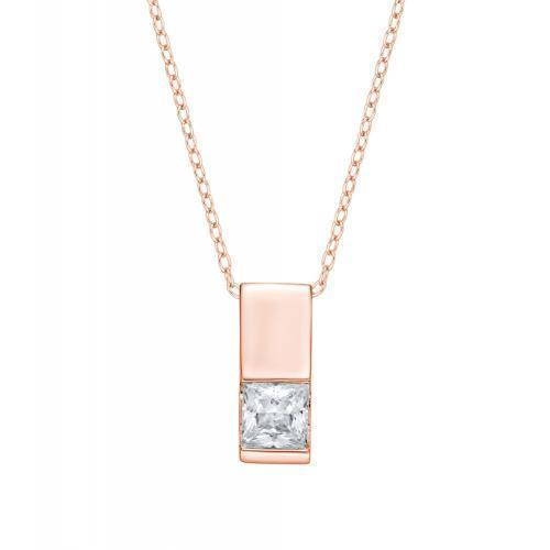 Princess Cut Half Bezel Block Pendant in Rose Gold