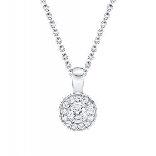 Round Brilliant Bezel Circle Pendant in White Gold