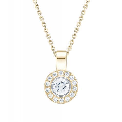 Round Brilliant Fancy Bezel Set Enhancer Pendant in Yellow Gold