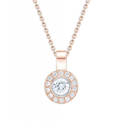 Round Brilliant Fancy Bezel Set Enhancer Pendant in Rose Gold