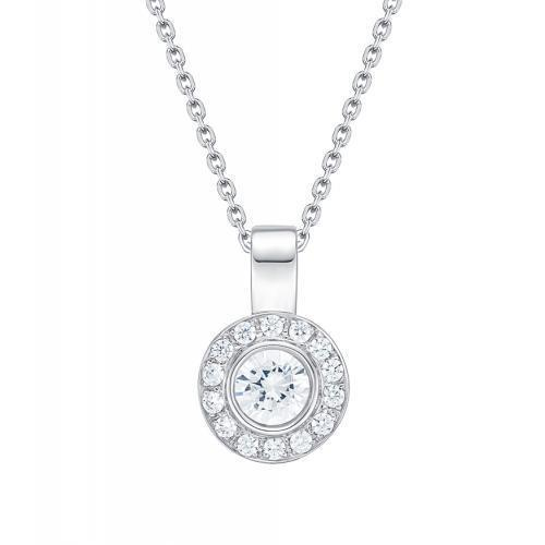 Round Brilliant Fancy Bezel Set Enhancer Pendant in White Gold