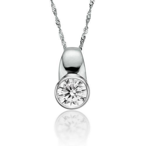 Round Brilliant Bezel Set Block Pendant in White Gold