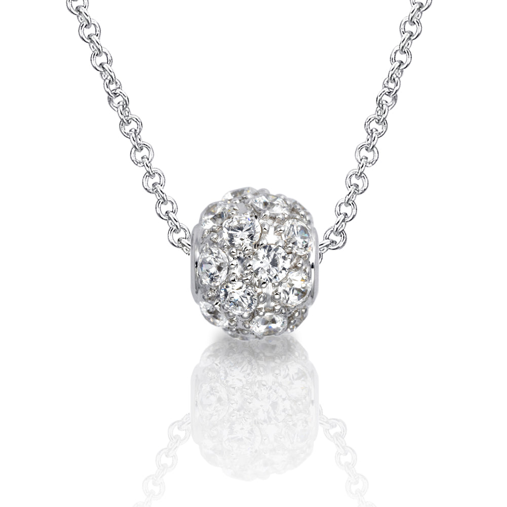 Round Brilliant Micro Pave Ball Pendant in Sterling Silver Small