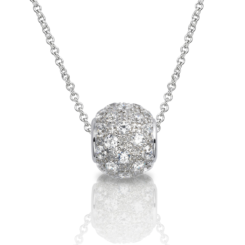 Round Brilliant Micro Pave Ball Pendant in Sterling Silver